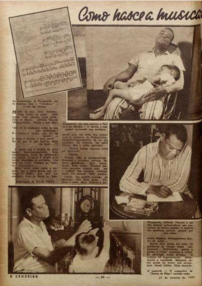 Revista Cruzeiro 21 janeiro 1939 materia sobre Carinhoso com fotos de Pixinguinha segurando o filho no colo